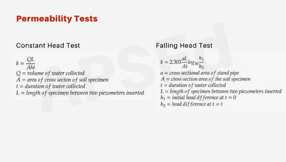 Soil Permeability Tests - Laboratory and Field Tests
