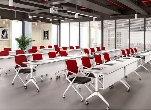 Office conference room with fodable table training furniture