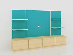 DISPLAY WALL UNIT_ GREEN & MAPLE_ DRAWER
