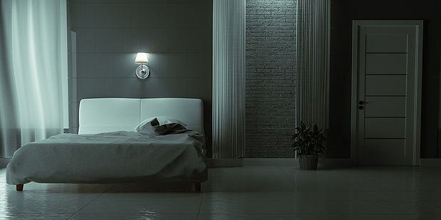 Dark bedroom with smart switch