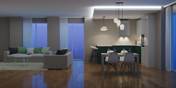Apartment building with smart home devices