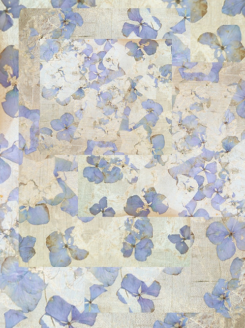Blue and Hydrangea Gold-Leaf Print