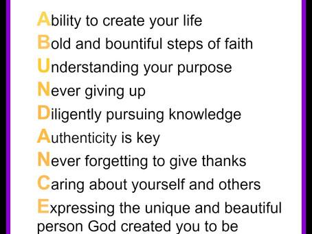 WEEK 1: Abundance Inspired Message