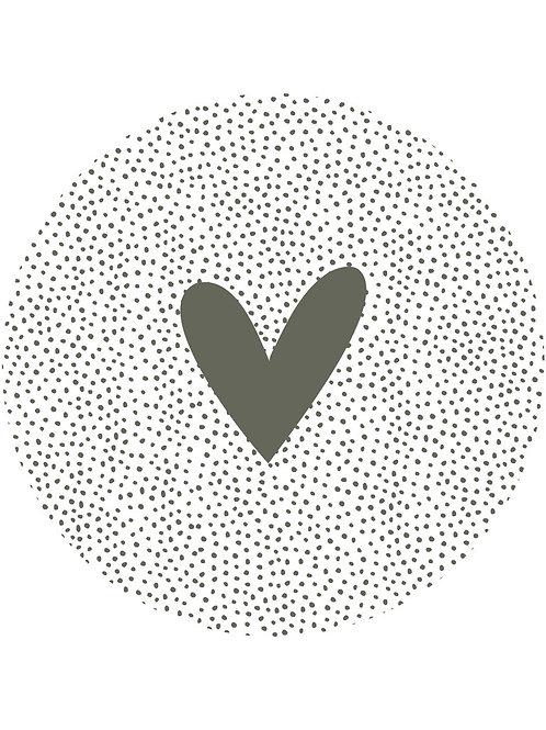 Muurcirkel groen wit dots hart