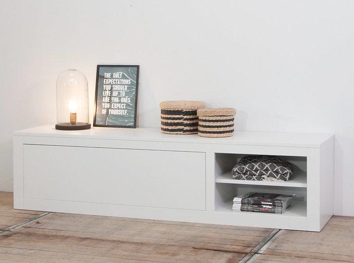 Tv dressoir Moos serie. Moos kastencollectie. Tv meubel met open vakken. Tv meubel maatwerk.