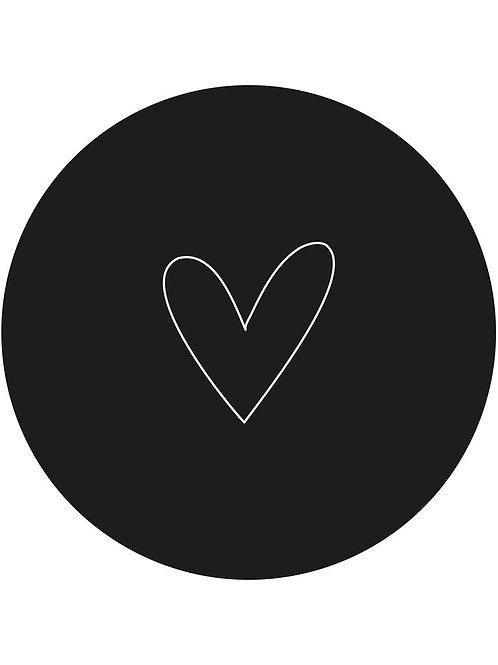 Muurcirkel zwart hart