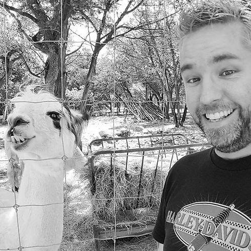 Joe Stone and a Lama.