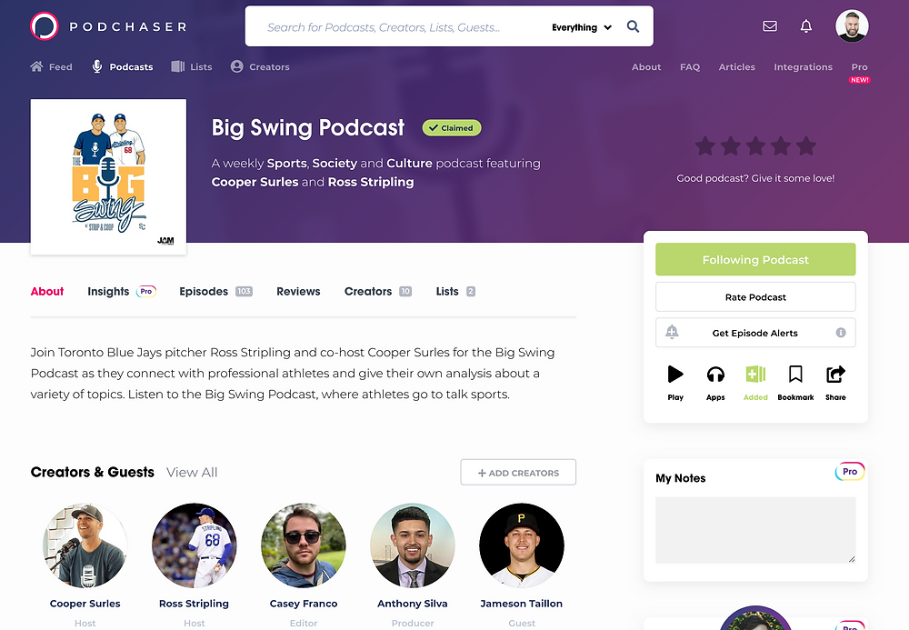 Big Swing Podcast listing on Podchaser.com