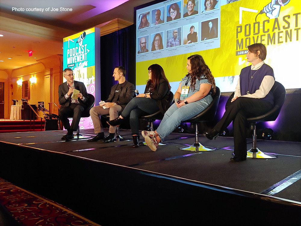 James Cridland (PodNews), Hernan Lopez (Wondery), Kerri Hoffman from PRX, Alia Tavakolian CFO of Spoke Media, and Christy Mirabal from Sony Music.