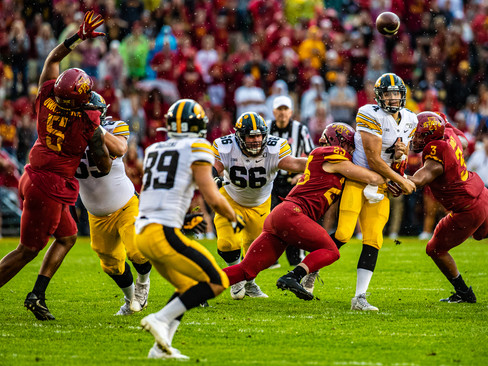Iowa quarterback Nate Stanley attempts a pass during a football game between Iowa and Iowa State at Jack Trice Stadium in Ames, IA, on Saturday, Sept. 14, 2019.