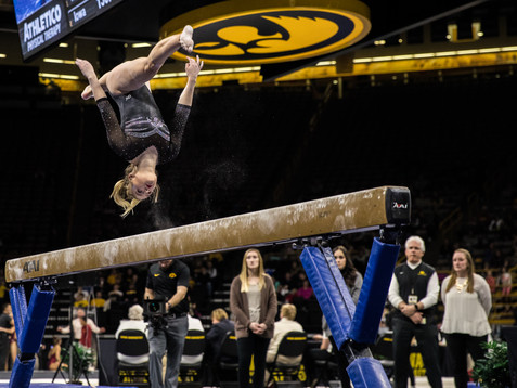 Iowa's Charlotte Sullivan competes on beam during a women's gymnastics meet between Iowa and Iowa State at Carver-Hawkeye Arena on Friday, March 1, 2019. Sullivan scored 9.750 in the event. The Hawkeyes, celebrating senior night, fell to the Cyclones, 196.275-196.250.