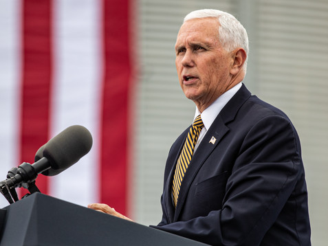 Vice President Mike Pence speaks during a farm visit hosted by America First Policies in Waukee on Wednesday, October 9, 2019.