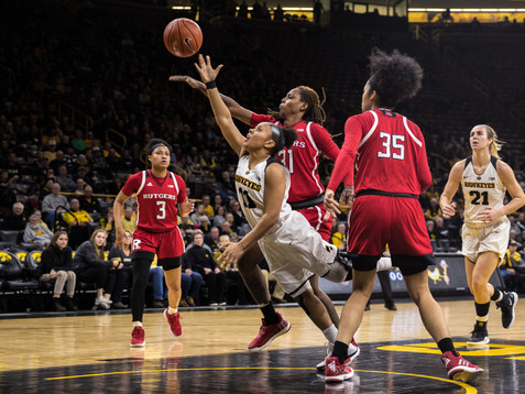 Iowa guard Tania Davis drives to the net during a women's basketball matchup between Iowa and Rutgers at Carver-Hawkeye Arena on Wednesday, January 23, 2019. The Hawkeyes defeated the Scarlet Knights, 72-66.