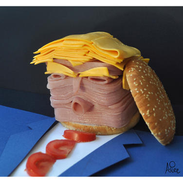 "©Asier 2018 Spain  ""Fast Food Trump""  Cold Cuts assemblage"