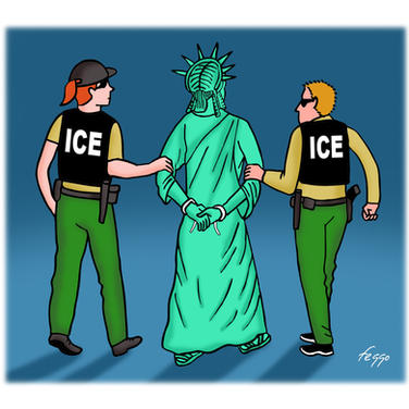 ICE Arrests Lady Liberty
