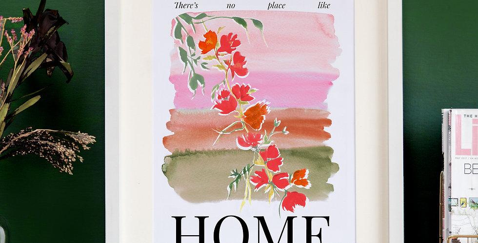 Watercolour Home Print - Pink & Green