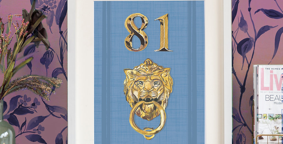 Front Door Print - Blue- Mock Gold Accessories
