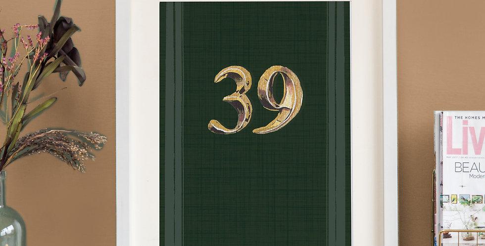 Front Door Print - Dark Green - Just Numbers