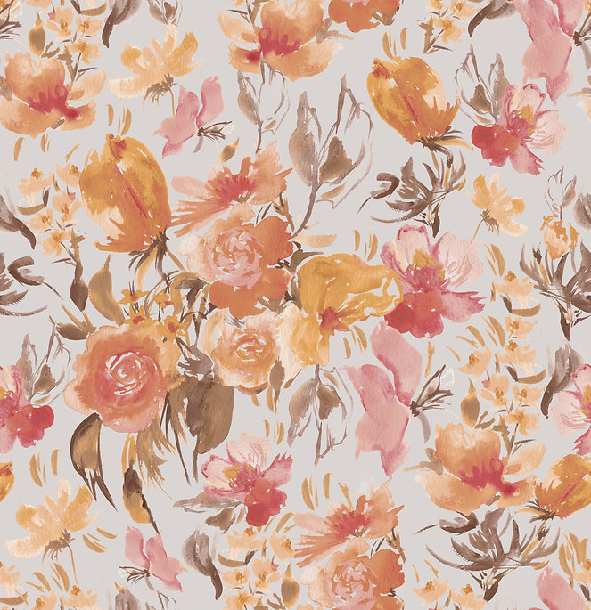 Fruit & Floral- Wallpaper Repeat-Pale Bl