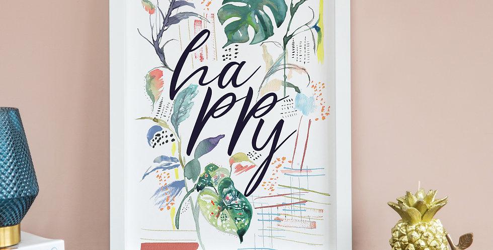 Happy Leafy Doodles Print