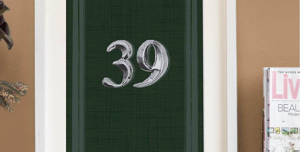 Front Door Print - Dark Green - Mock Silver Numbers