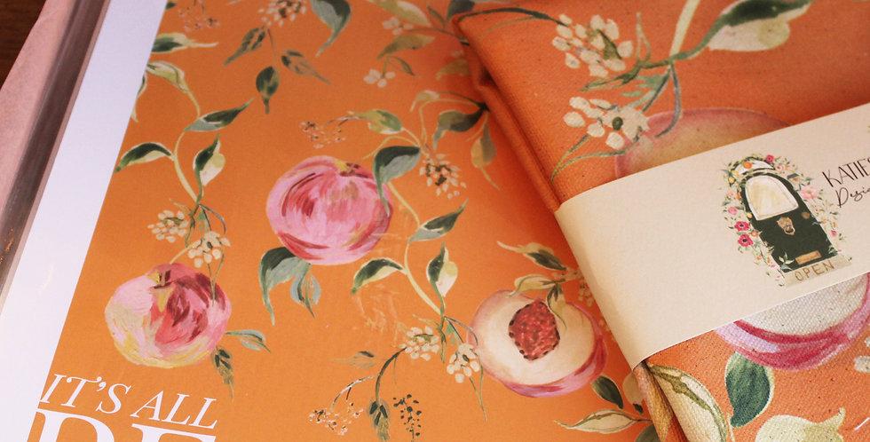 'It's All Peachy'  Tea Towel + Orange Print Gift Set