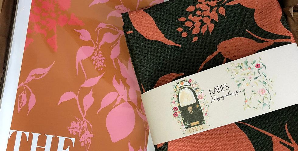 The North - Khaki Tea Towel + Burnt Orange Print Gift Set