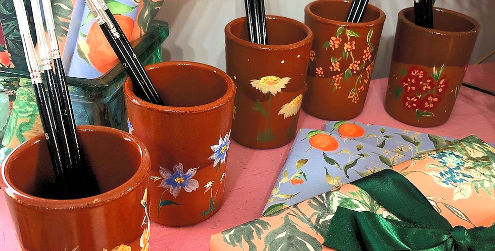 Hand painted paint brush pot -  Coral blooms