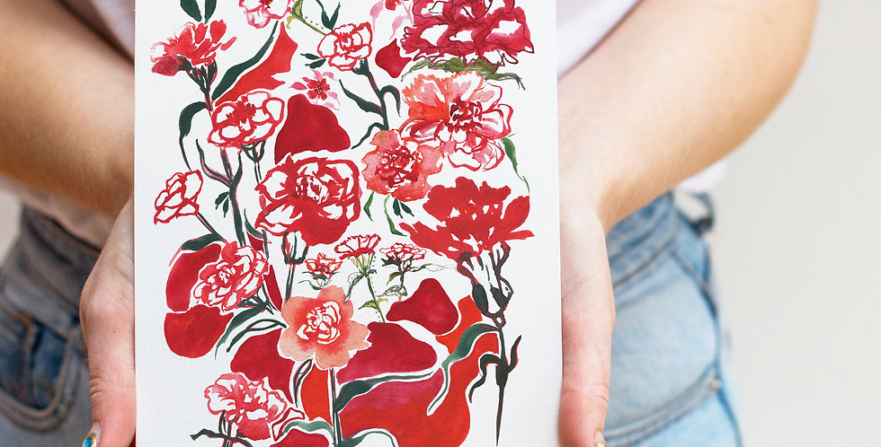 Carnations- January Birth Flower Print & Name
