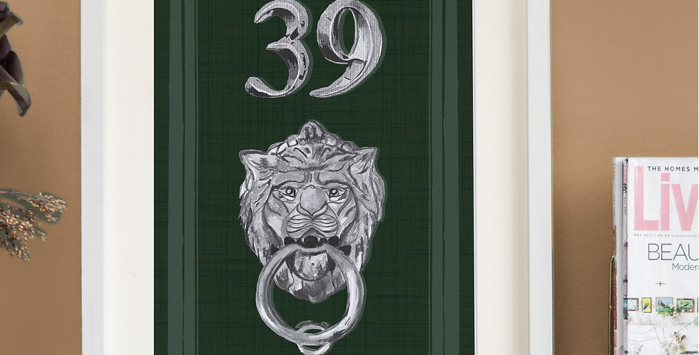 Front Door Print - Dark Green - Mock Silver Accessories