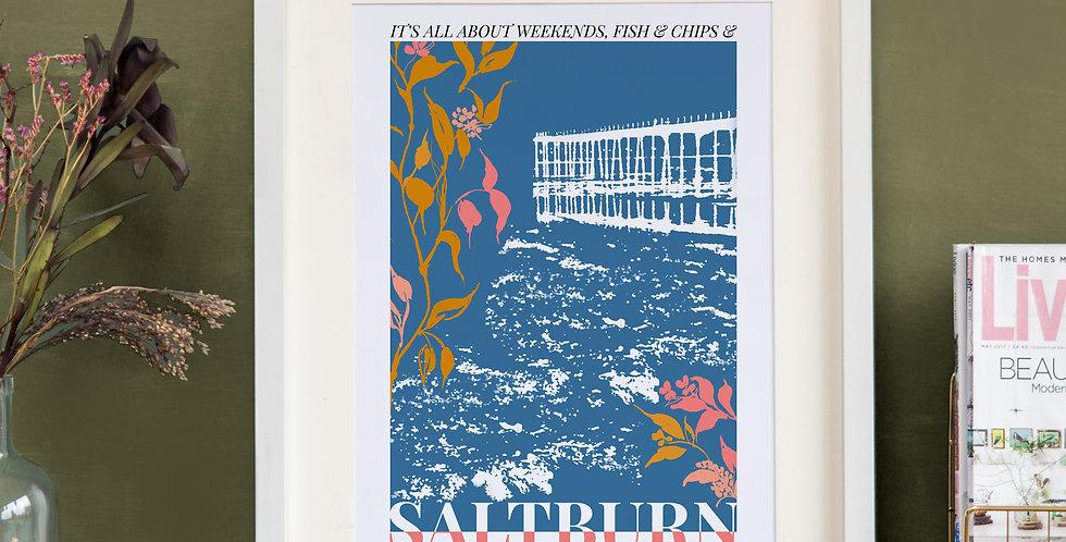 Saltburn Print - Teal Blue