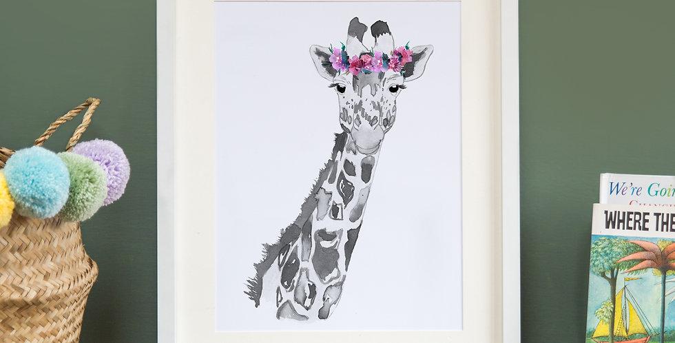 Floral Crowned Grey Giraffe