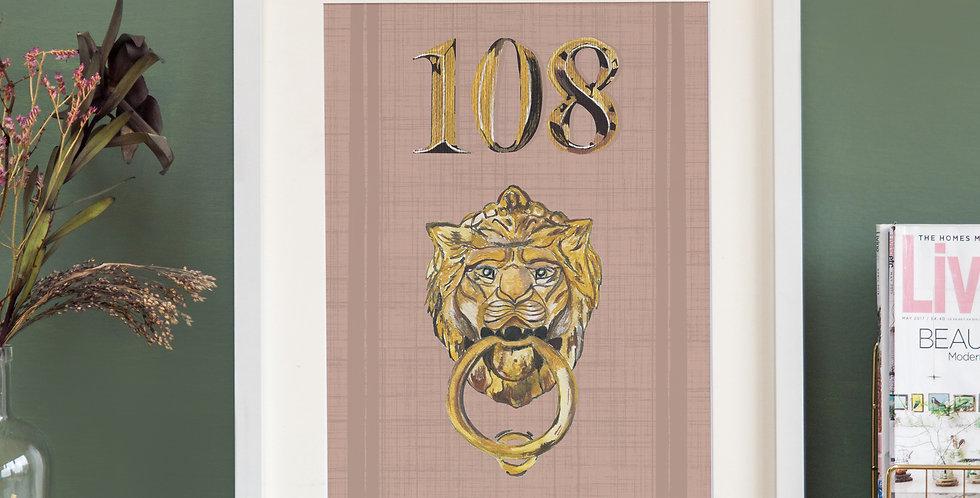 Front Door Print - Mauve Pink - Mock Gold Accessories
