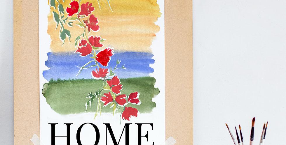Watercolour Home Print - Rainbow Base