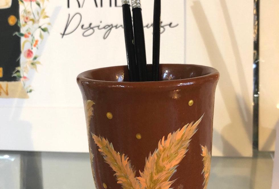 Grassy Stems Paint Brush Pot & brushes