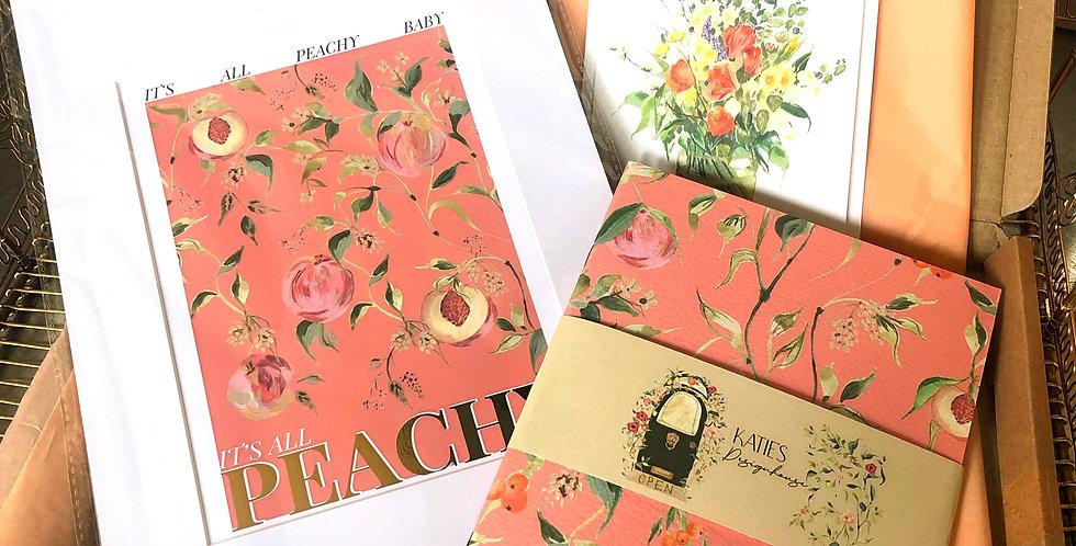A5 Peaches Notebook & Postcard Gift Set