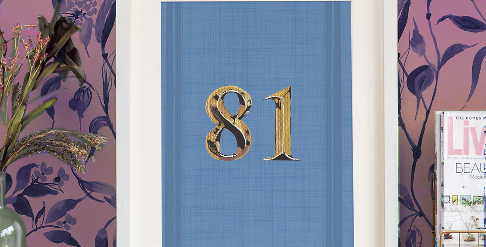 Front Door Print - Blue- Mock Gold Numbers