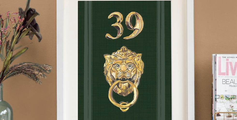 Front Door Print - Dark Green - Lion Knocker
