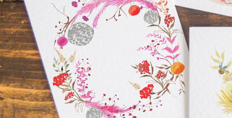 Disco Ball Wreath Postcard