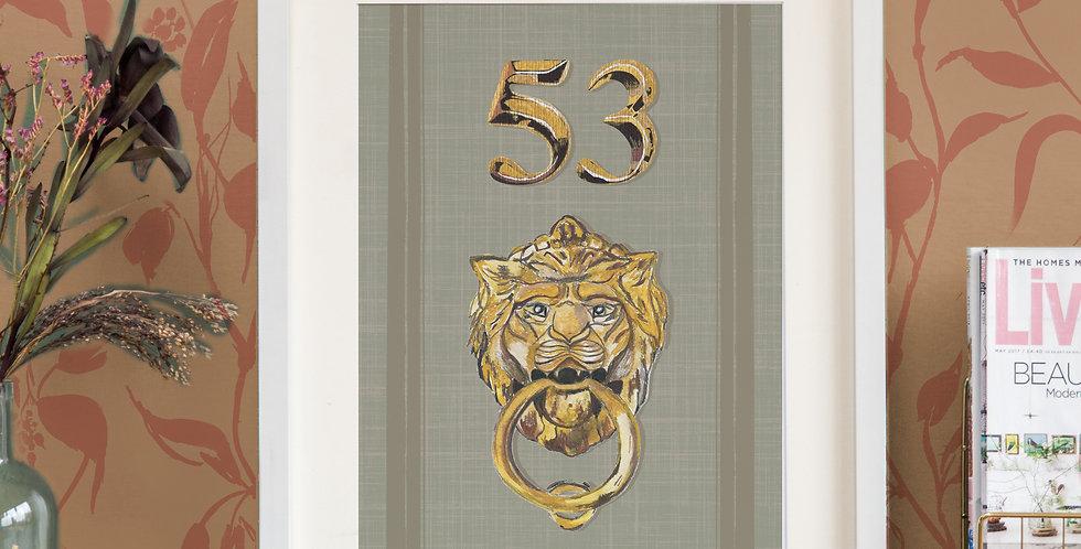 Front Door Print - Sage - Mock Gold Accessories