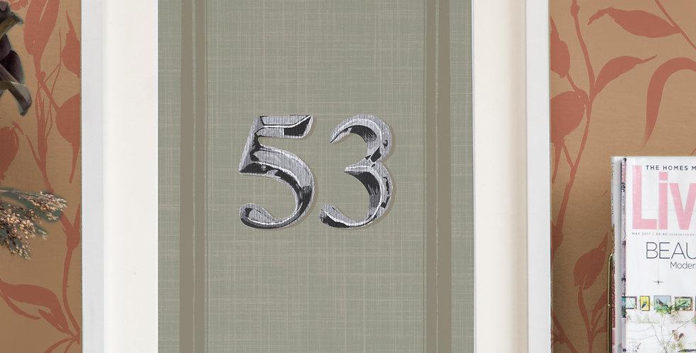 Front Door Print - Sage - Mock Silver Numbers