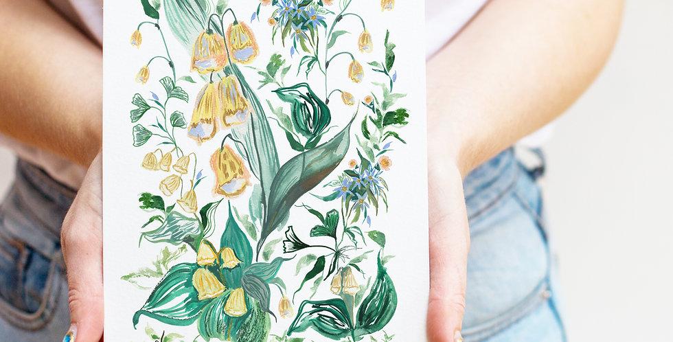 Lilies Birth Flower Print & Name