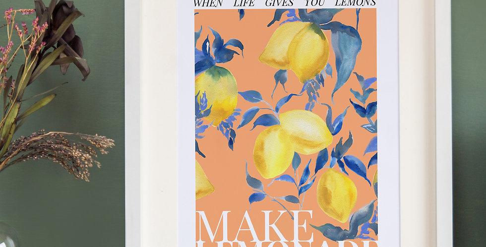 Make Lemonade Poster Style Print - Peach Base