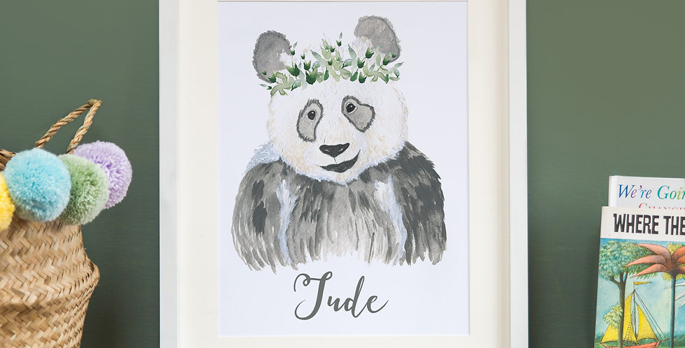 Panda with leafy crown
