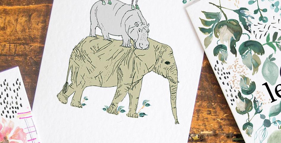 Leafy Safari Stack Postcard
