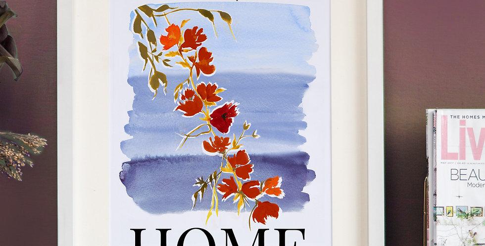 Watercolour Home Print- Blue