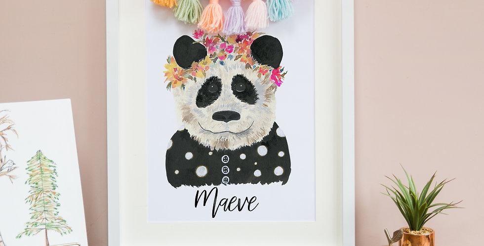 Panda with Rainbow Flower Crown