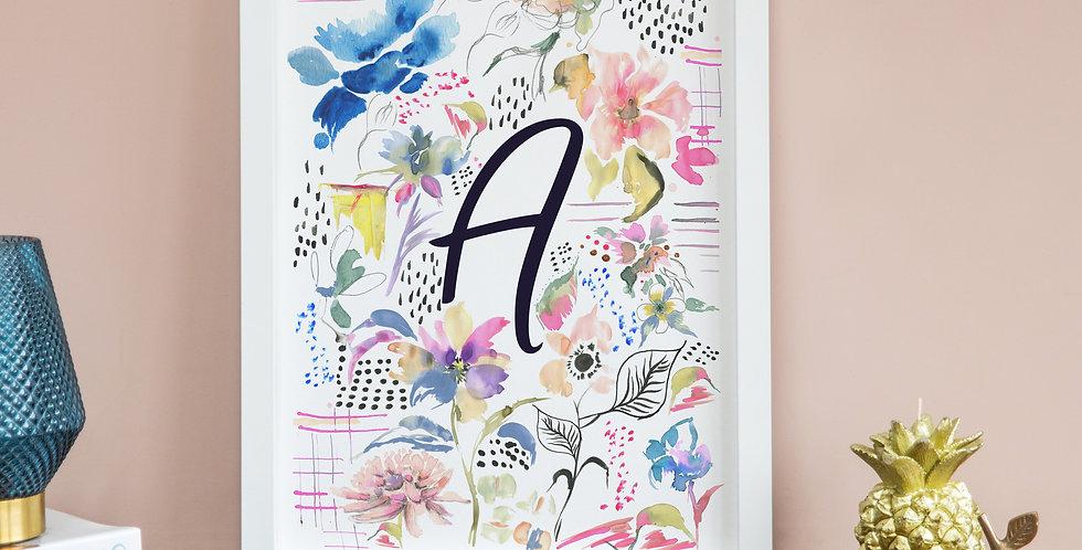 Floral Doodle - Initial Print