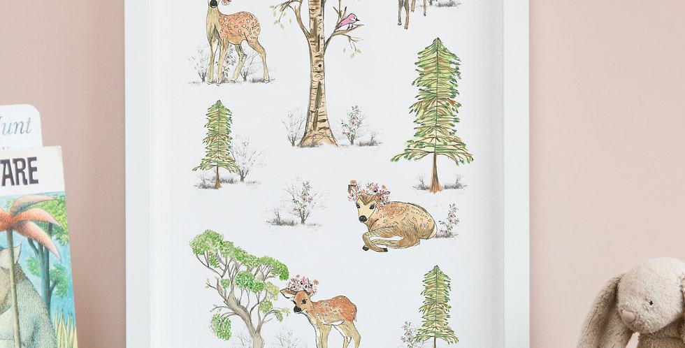 A3 Deer Woodland Scene