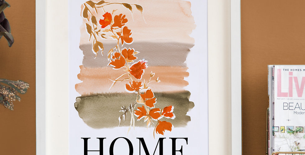 Watercolour Home Print - Oranges